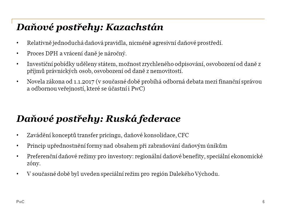 PwC Daňové postřehy: Kazachstán Relativně jednoduchá daňová pravidla, nicméně agresivní daňové prostředí.