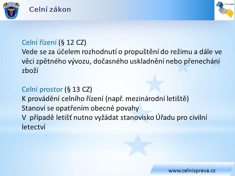 Celní zákon www.celnisprava.cz Celní řízení (§ 12 CZ) Vede se za účelem rozhodnutí o propuštění do režimu a dále ve věci zpětného vývozu, dočasného uskladnění nebo přenechání zboží Celní prostor (§ 13 CZ) K provádění celního řízení (např.