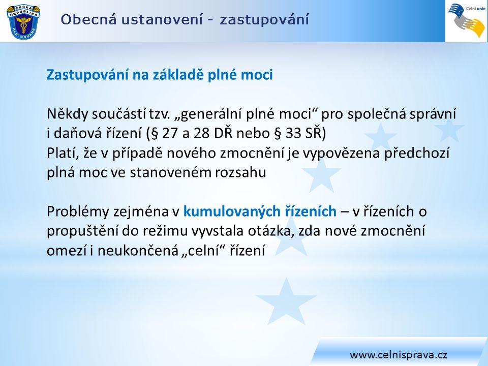 Obecná ustanovení - zastupování www.celnisprava.cz Zastupování na základě plné moci Někdy součástí tzv.