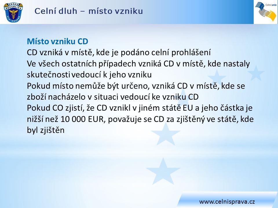 Celní dluh – místo vzniku www.celnisprava.cz Místo vzniku CD CD vzniká v místě, kde je podáno celní prohlášení Ve všech ostatních případech vzniká CD v místě, kde nastaly skutečnosti vedoucí k jeho vzniku Pokud místo nemůže být určeno, vzniká CD v místě, kde se zboží nacházelo v situaci vedoucí ke vzniku CD Pokud CO zjistí, že CD vznikl v jiném státě EU a jeho částka je nižší než 10 000 EUR, považuje se CD za zjištěný ve státě, kde byl zjištěn
