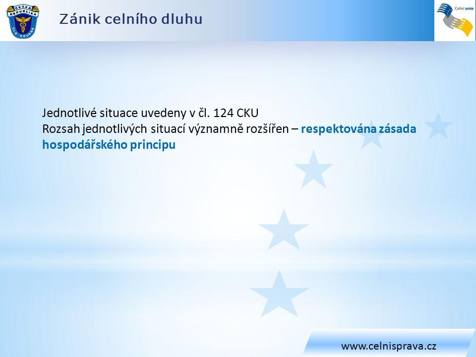 Zánik celního dluhu www.celnisprava.cz Jednotlivé situace uvedeny v čl.