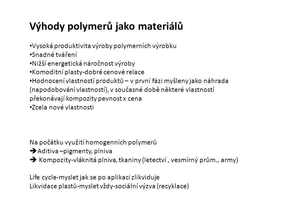 Výhody polymerů jako materiálů Vysoká produktivita výroby polymerních výrobku Snadné tváření Nižší energetická náročnost výroby Komoditní plasty-dobré