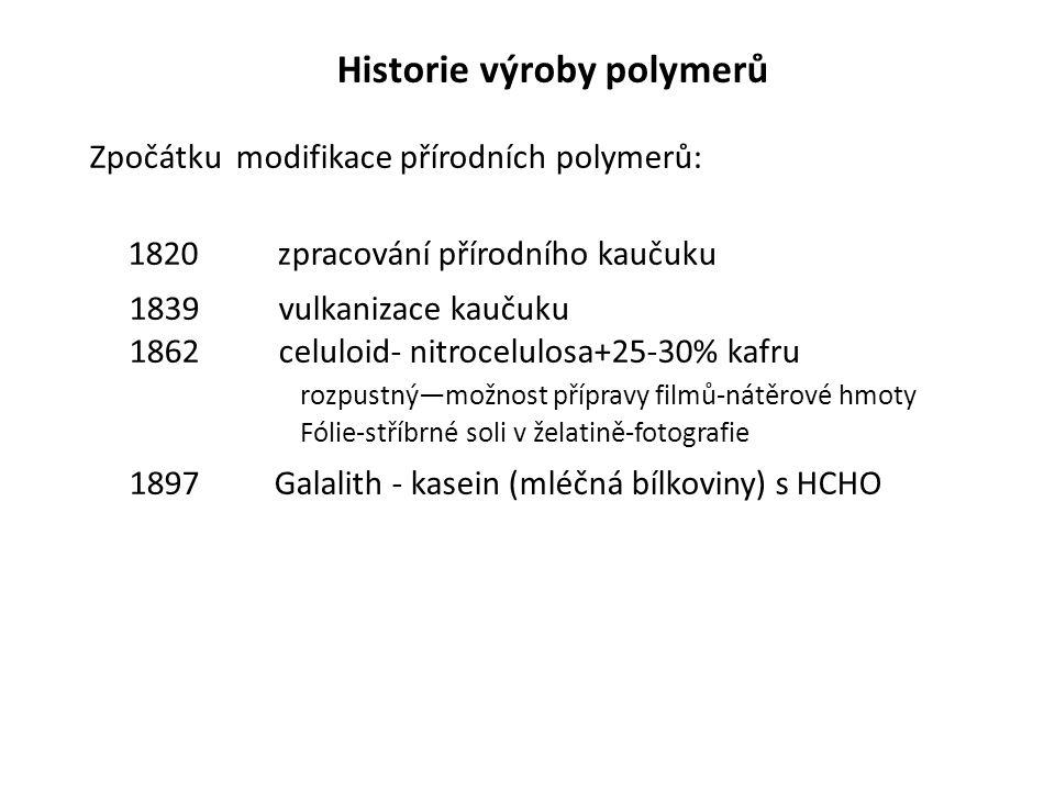Historie výroby polymerů Zpočátku modifikace přírodních polymerů: 1820 zpracování přírodního kaučuku 1839 vulkanizace kaučuku 1862 celuloid- nitrocelu