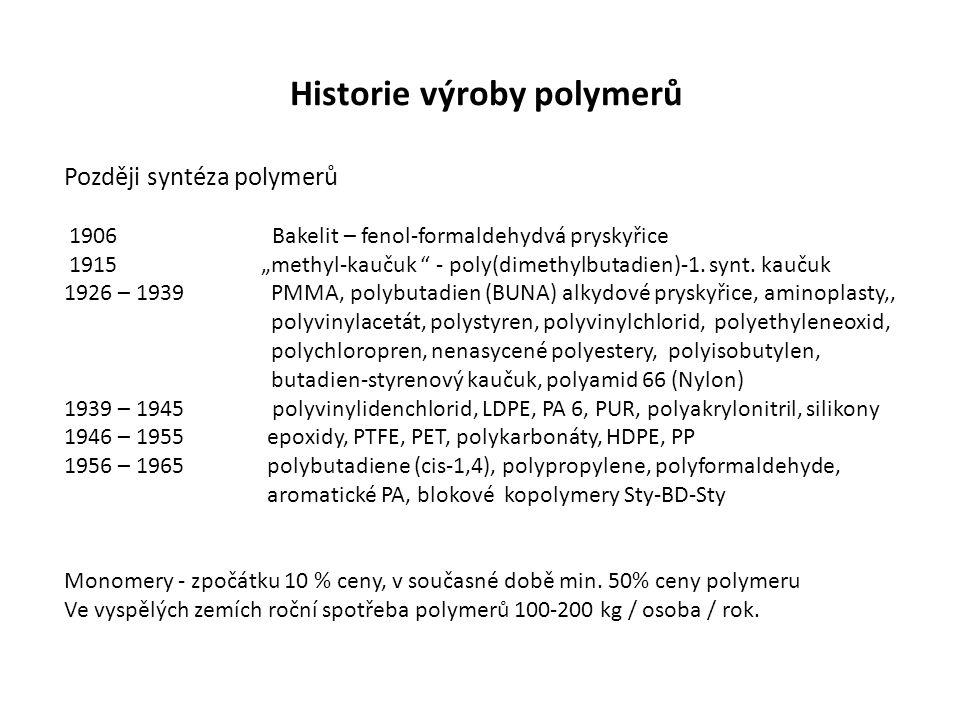 """Historie výroby polymerů Později syntéza polymerů 1906 Bakelit – fenol-formaldehydvá pryskyřice 1915 """"methyl-kaučuk """" - poly(dimethylbutadien)-1. synt"""
