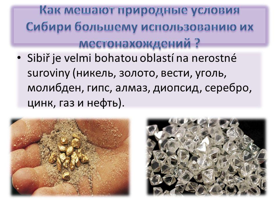 Sibiř je velmi bohatou oblastí na nerostné suroviny (никель, золото, вести, уголь, молибден, гипс, алмаз, диопсид, серебро, цинк, газ и нефть).