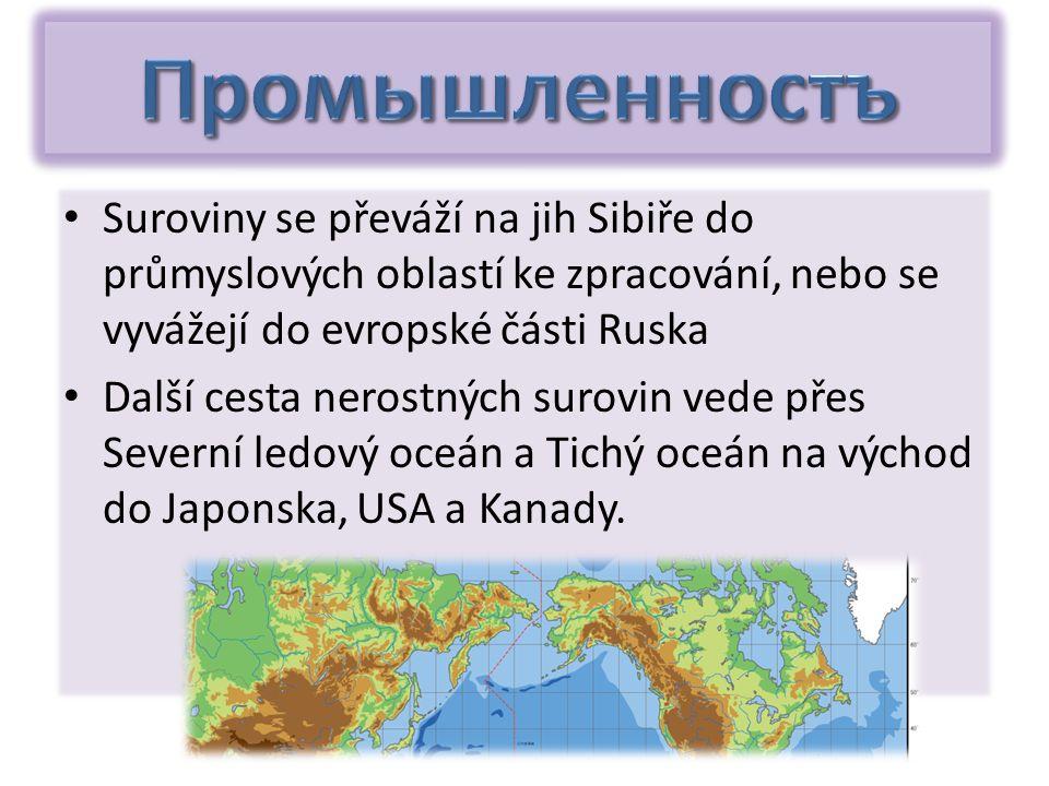 Suroviny se převáží na jih Sibiře do průmyslových oblastí ke zpracování, nebo se vyvážejí do evropské části Ruska Další cesta nerostných surovin vede přes Severní ledový oceán a Tichý oceán na východ do Japonska, USA a Kanady.