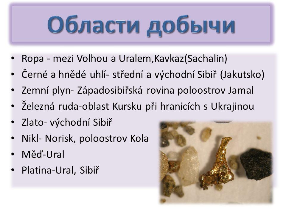 Ropa - mezi Volhou a Uralem,Kavkaz(Sachalin) Černé a hnědé uhlí- střední a východní Sibiř (Jakutsko) Zemní plyn- Západosibiřská rovina poloostrov Jama
