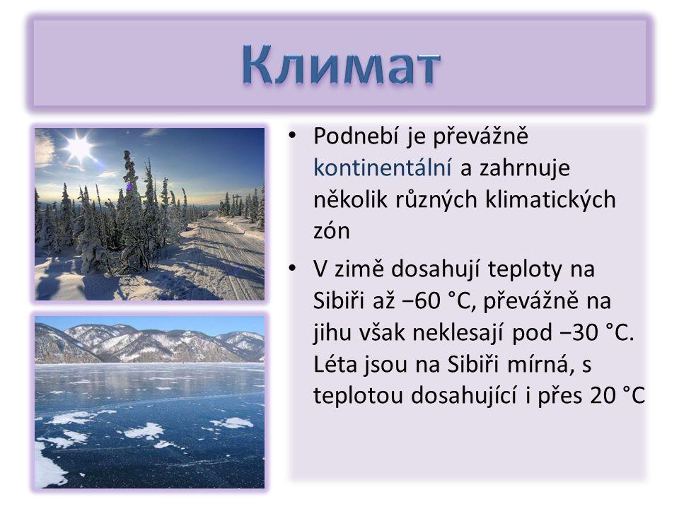 Podnebí je převážně kontinentální a zahrnuje několik různých klimatických zón V zimě dosahují teploty na Sibiři až −60 °C, převážně na jihu však neklesají pod −30 °C.
