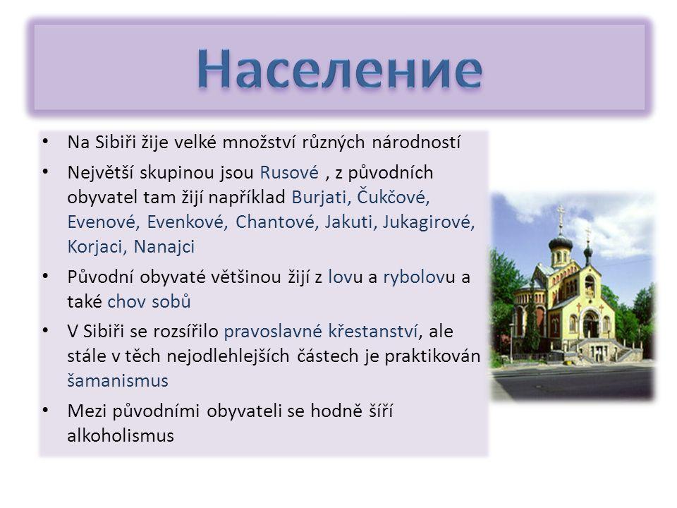 Na Sibiři žije velké množství různých národností Největší skupinou jsou Rusové, z původních obyvatel tam žijí například Burjati, Čukčové, Evenové, Evenkové, Chantové, Jakuti, Jukagirové, Korjaci, Nanajci Původní obyvaté většinou žijí z lovu a rybolovu a také chov sobů V Sibiři se rozsířilo pravoslavné křestanství, ale stále v těch nejodlehlejších částech je praktikován šamanismus Mezi původními obyvateli se hodně šíří alkoholismus