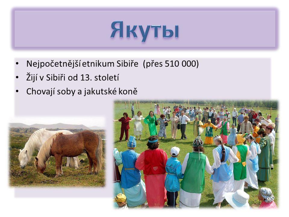 Nejpočetnější etnikum Sibiře (přes 510 000) Žijí v Sibiři od 13. století Chovají soby a jakutské koně