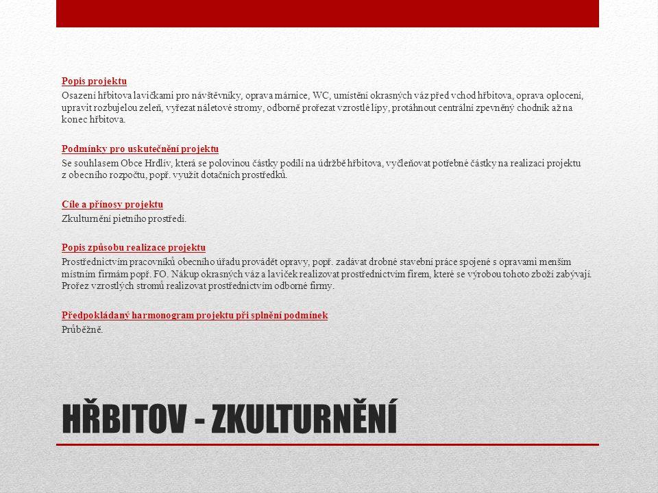 HŘBITOV - ZKULTURNĚNÍ Popis projektu Osazení hřbitova lavičkami pro návštěvníky, oprava márnice, WC, umístění okrasných váz před vchod hřbitova, oprav