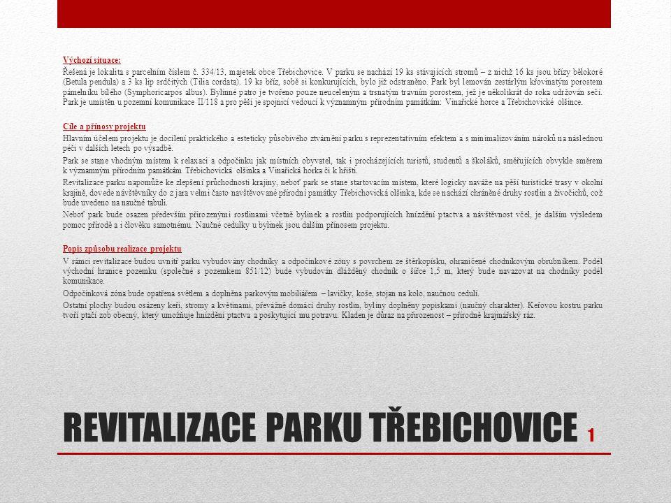 REVITALIZACE PARKU TŘEBICHOVICE 1 Výchozí situace: Řešená je lokalita s parcelním číslem č. 334/13, majetek obce Třebichovice. V parku se nachází 19 k