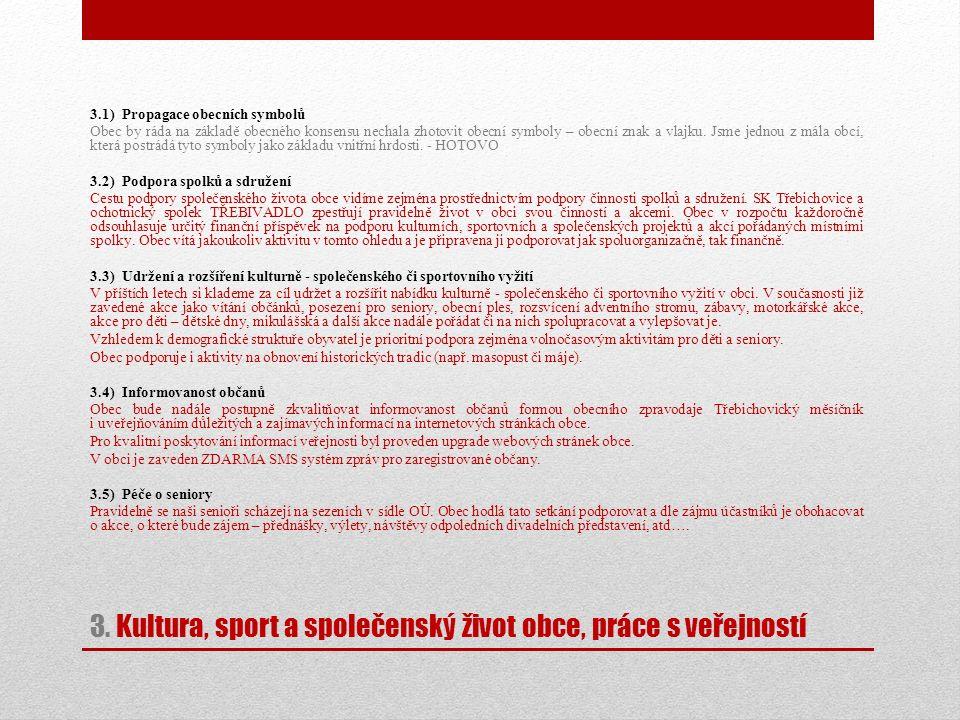 3. Kultura, sport a společenský život obce, práce s veřejností 3.1) Propagace obecních symbolů Obec by ráda na základě obecného konsensu nechala zhoto