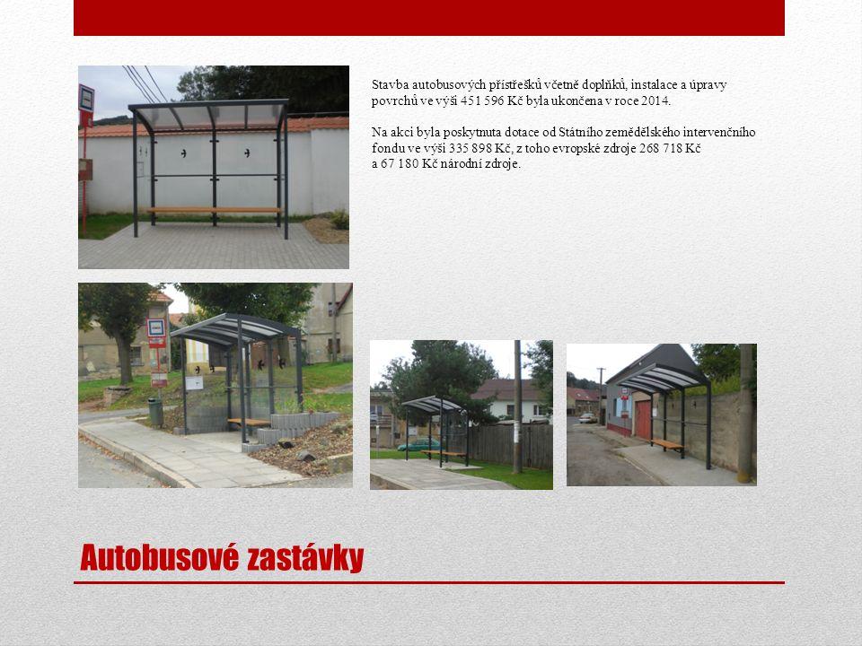 Autobusové zastávky Stavba autobusových přístřešků včetně doplňků, instalace a úpravy povrchů ve výši 451 596 Kč byla ukončena v roce 2014. Na akci by