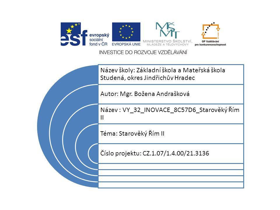 Název školy: Základní škola a Mateřská škola Studená, okres Jindřichův Hradec Autor: Mgr.