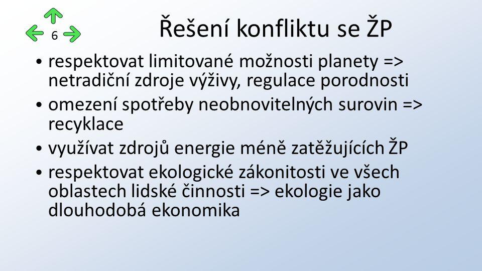 respektovat limitované možnosti planety => netradiční zdroje výživy, regulace porodnosti omezení spotřeby neobnovitelných surovin => recyklace využíva