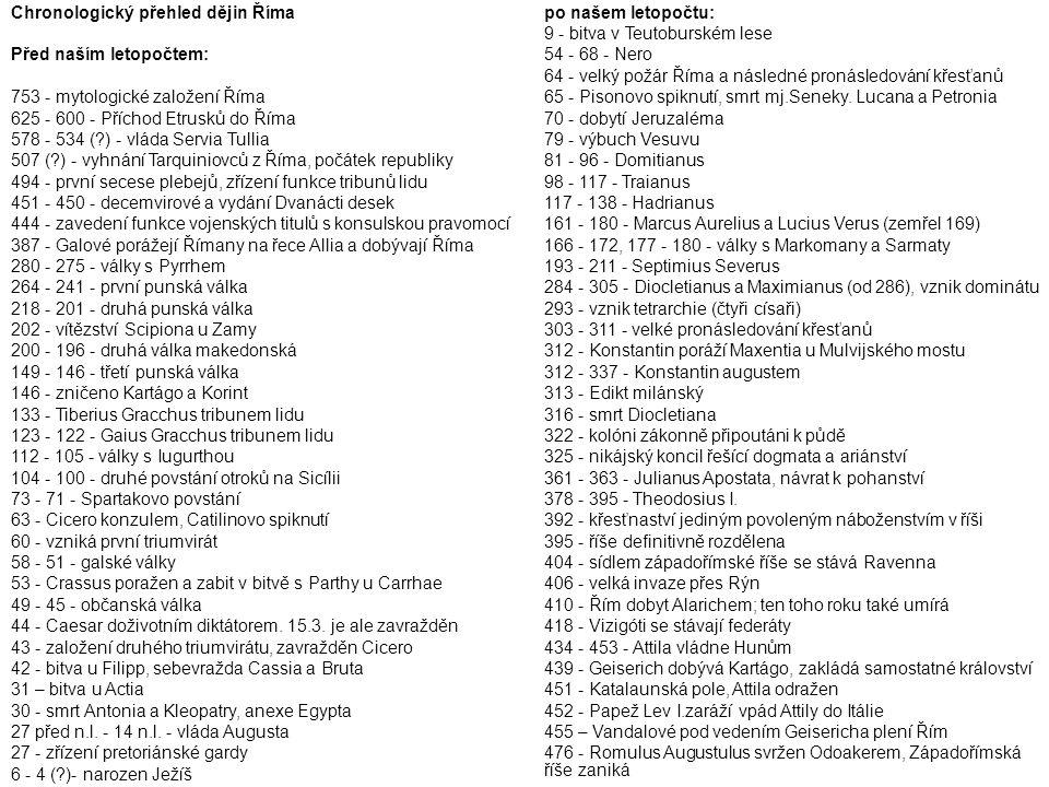 Chronologický přehled dějin Říma Před naším letopočtem: 753 - mytologické založení Říma 625 - 600 - Příchod Etrusků do Říma 578 - 534 (?) - vláda Serv