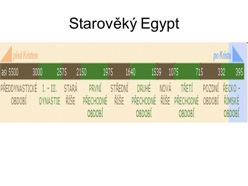 Stará říše Navazuje na archaické období Cca 3000 PNL sjednocení Dolního a Horního Egypta – faraon Menes (dříve Meni) Období 2700-2180 PNL Období stavby pyramid – první Džoserova (Sákara), největší Cheopsova, resp.