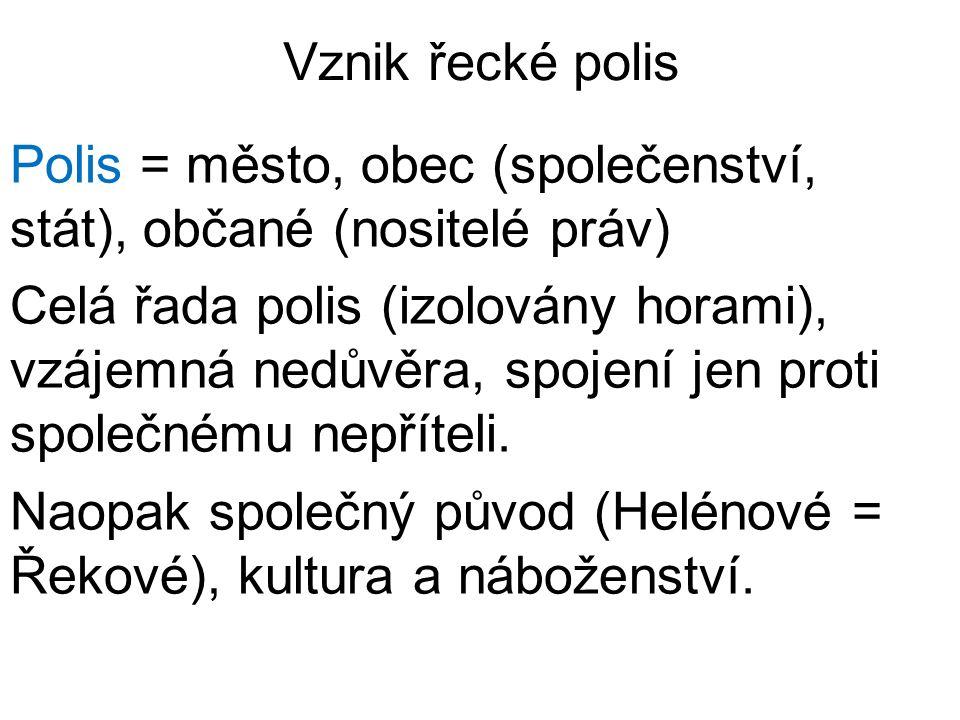 Vznik řecké polis Polis = město, obec (společenství, stát), občané (nositelé práv) Celá řada polis (izolovány horami), vzájemná nedůvěra, spojení jen