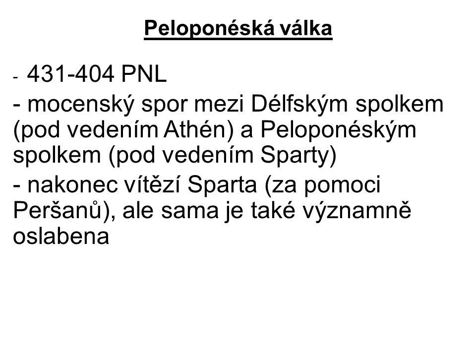 Peloponéská válka - 431-404 PNL - mocenský spor mezi Délfským spolkem (pod vedením Athén) a Peloponéským spolkem (pod vedením Sparty) - nakonec vítězí