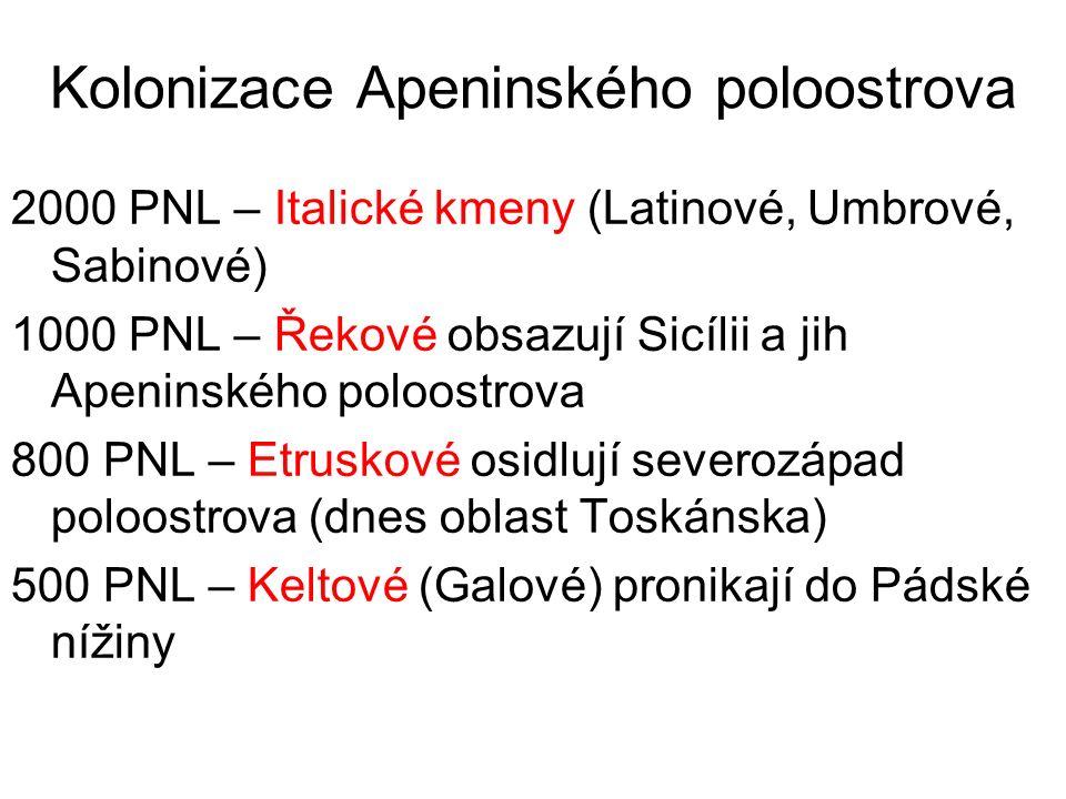 Kolonizace Apeninského poloostrova 2000 PNL – Italické kmeny (Latinové, Umbrové, Sabinové) 1000 PNL – Řekové obsazují Sicílii a jih Apeninského poloos
