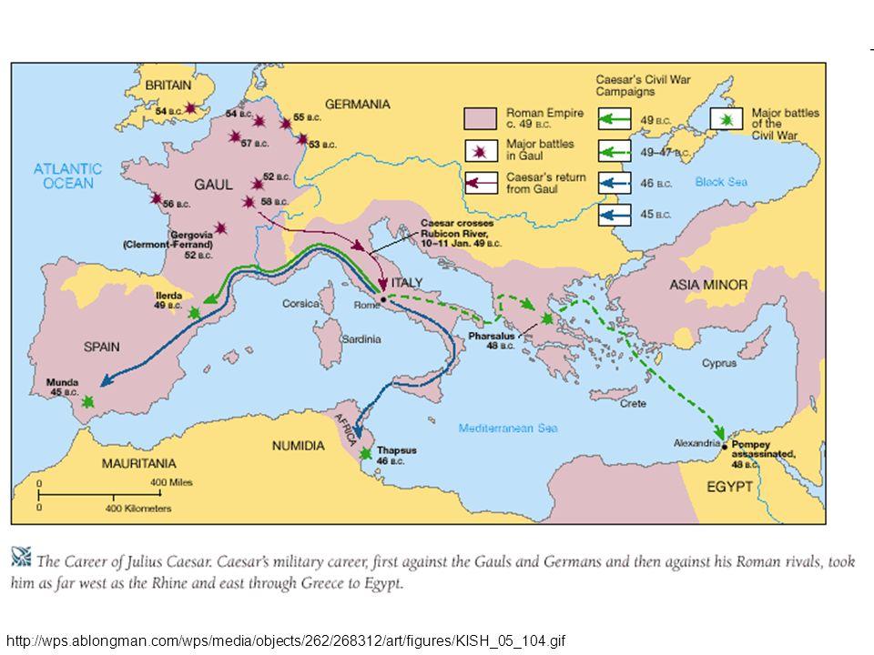 Caesarova diktatura - Caesar 48 PNL porazil Pompeia v bitvě u Farsálu – Pompeius unikl do Egypta, kde byl zabit - Caesar vtrhl do Egypta a dosadil na trůn Kleopatru - v roce 45 PNL porazil Caesar spojence Pompeia a stal se samovládcem - nepronásledoval své politické odpůrce, snažil si je získat – třeba i místy ve státě - reformy, kolonizace (příděly půdy), občanství, juliánský kalendář, gladiátorské hry - 15.