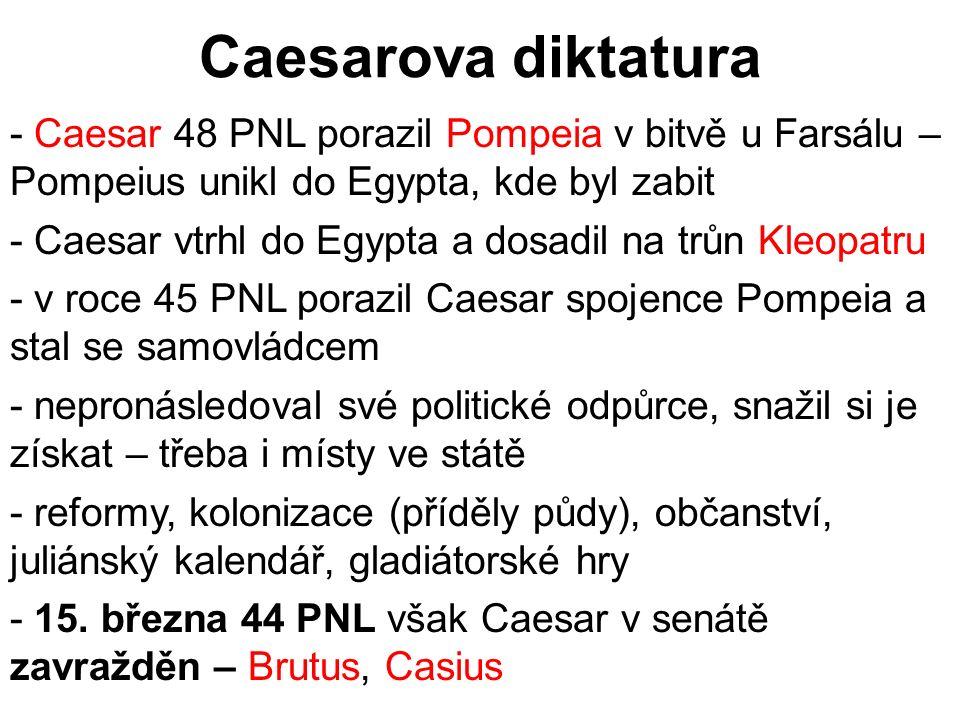Caesarova diktatura - Caesar 48 PNL porazil Pompeia v bitvě u Farsálu – Pompeius unikl do Egypta, kde byl zabit - Caesar vtrhl do Egypta a dosadil na