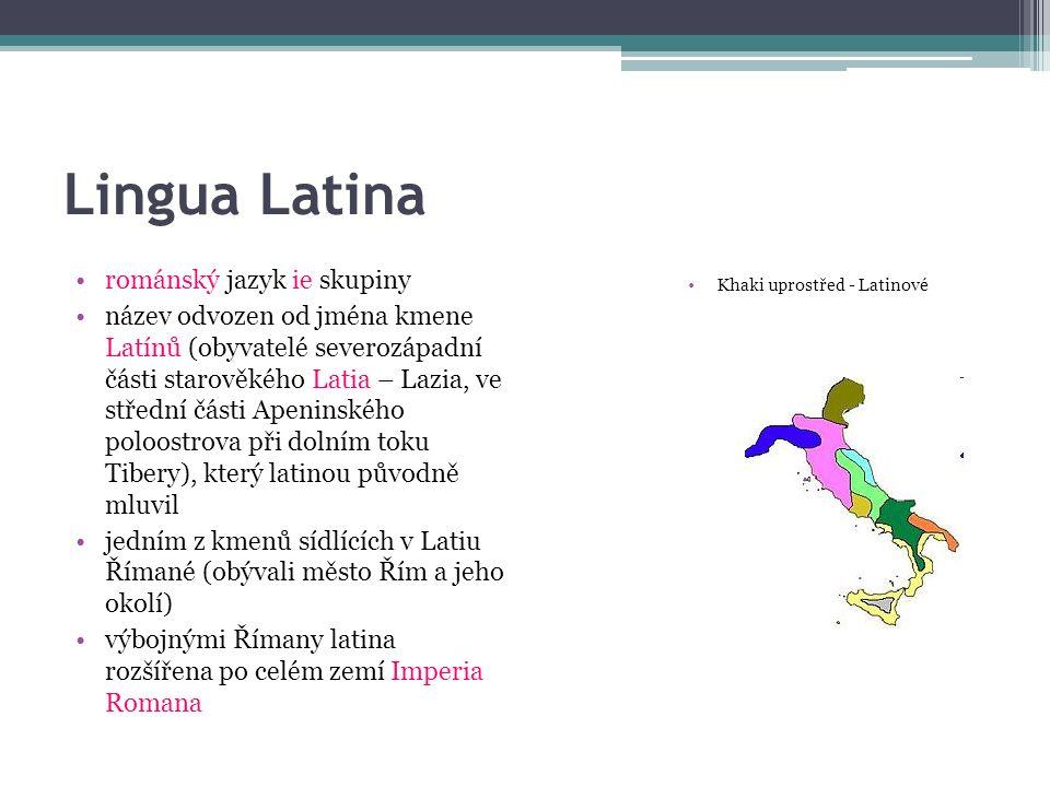 Lingua Latina románský jazyk ie skupiny název odvozen od jména kmene Latínů (obyvatelé severozápadní části starověkého Latia – Lazia, ve střední části Apeninského poloostrova při dolním toku Tibery), který latinou původně mluvil jedním z kmenů sídlících v Latiu Římané (obývali město Řím a jeho okolí) výbojnými Římany latina rozšířena po celém zemí Imperia Romana Khaki uprostřed - Latinové