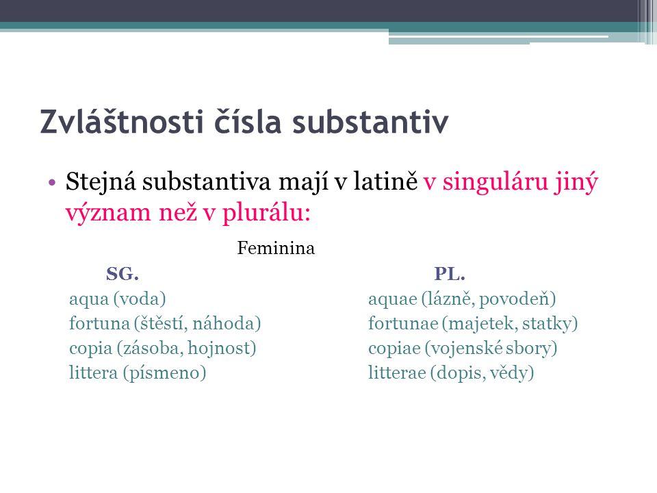 Zvláštnosti čísla substantiv Stejná substantiva mají v latině v singuláru jiný význam než v plurálu: Feminina SG.