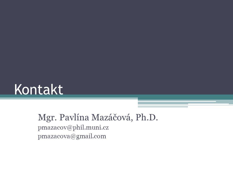 Kontakt Mgr. Pavlína Mazáčová, Ph.D. pmazacov@phil.muni.cz pmazacova@gmail.com