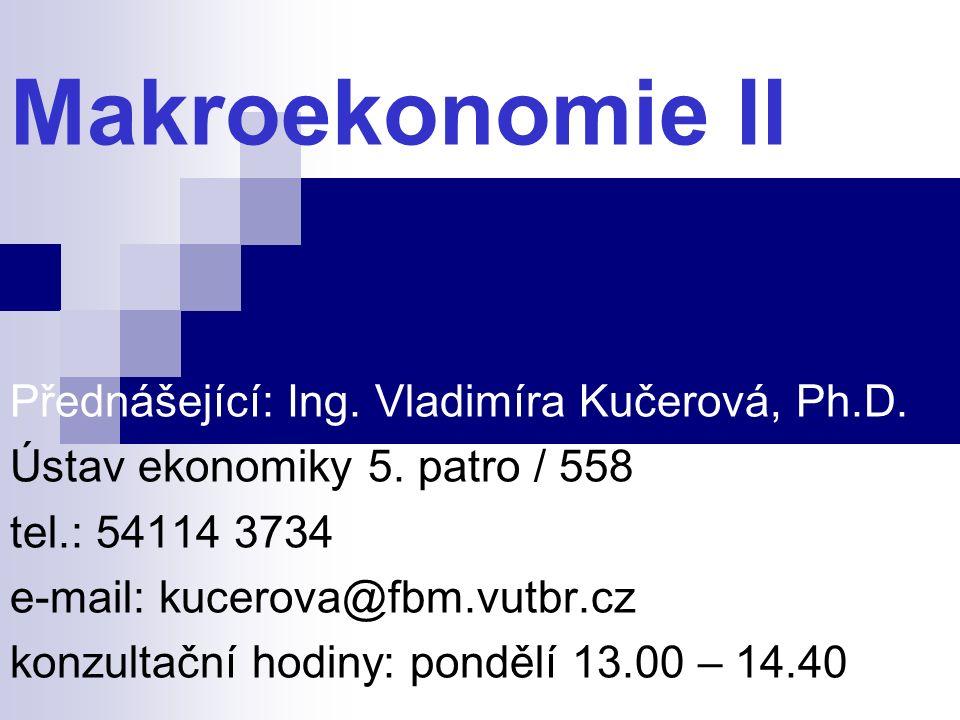 Makroekonomie II Přednášející: Ing. Vladimíra Kučerová, Ph.D. Ústav ekonomiky 5. patro / 558 tel.: 54114 3734 e-mail: kucerova@fbm.vutbr.cz konzultačn