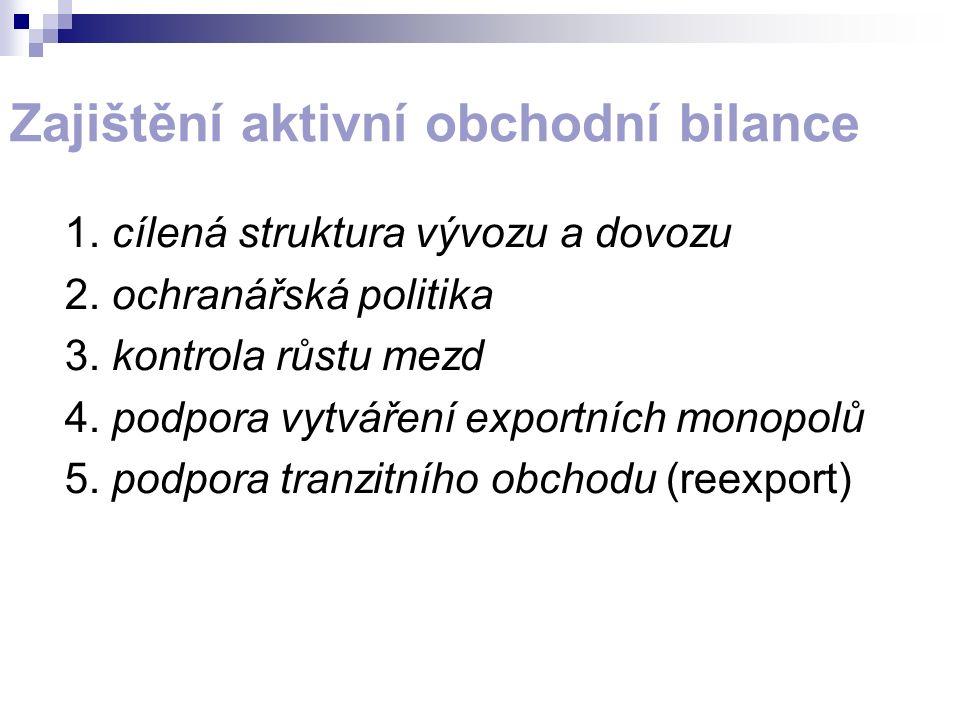 Zajištění aktivní obchodní bilance 1. cílená struktura vývozu a dovozu 2. ochranářská politika 3. kontrola růstu mezd 4. podpora vytváření exportních