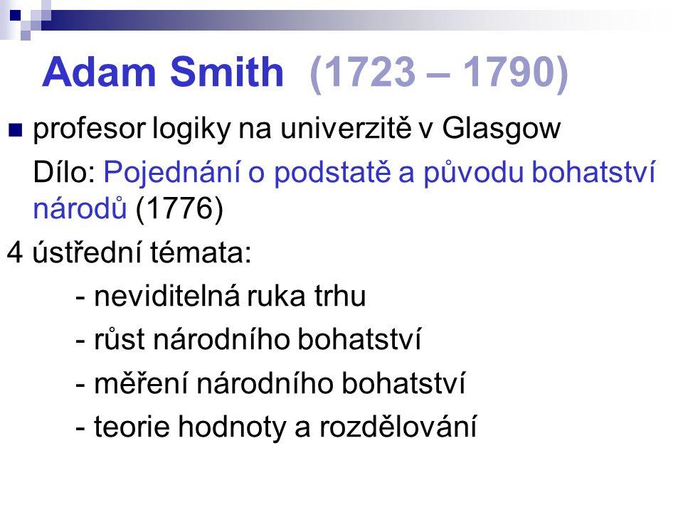 Adam Smith (1723 – 1790) profesor logiky na univerzitě v Glasgow Dílo: Pojednání o podstatě a původu bohatství národů (1776) 4 ústřední témata: - neviditelná ruka trhu - růst národního bohatství - měření národního bohatství - teorie hodnoty a rozdělování