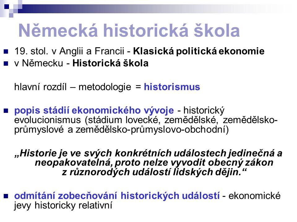 Německá historická škola 19. stol. v Anglii a Francii - Klasická politická ekonomie v Německu - Historická škola hlavní rozdíl – metodologie = histori
