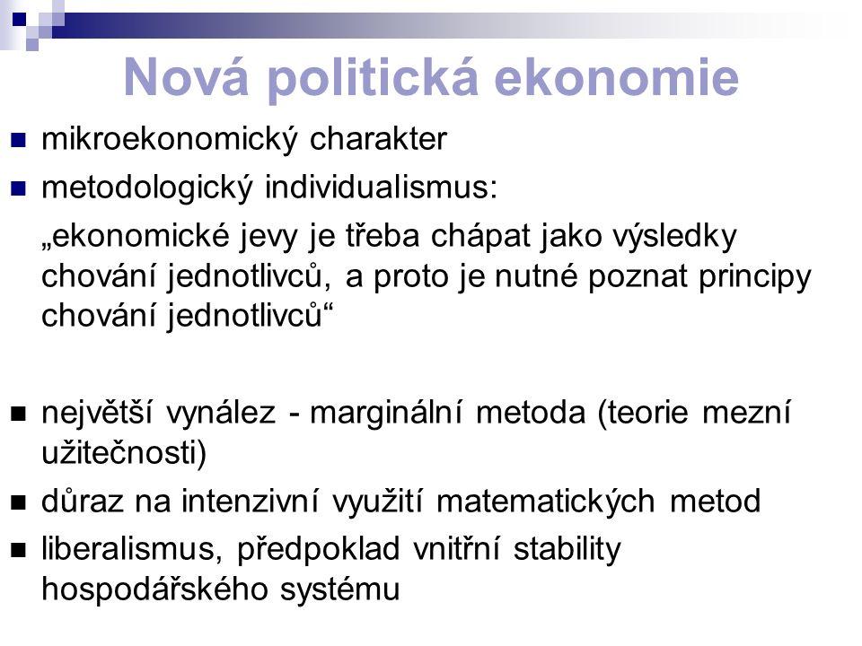 """Nová politická ekonomie mikroekonomický charakter metodologický individualismus: """"ekonomické jevy je třeba chápat jako výsledky chování jednotlivců, a proto je nutné poznat principy chování jednotlivců největší vynález - marginální metoda (teorie mezní užitečnosti) důraz na intenzivní využití matematických metod liberalismus, předpoklad vnitřní stability hospodářského systému"""