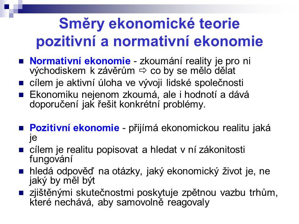 Směry ekonomické teorie pozitivní a normativní ekonomie Normativní ekonomie - zkoumání reality je pro ni východiskem k závěrům  co by se mělo dělat c