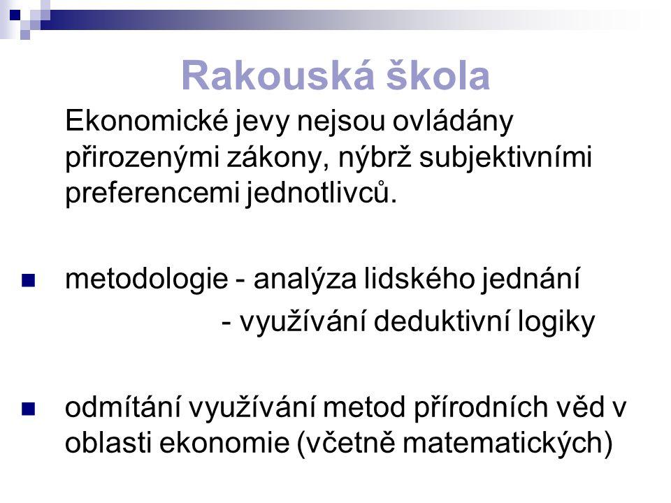 Rakouská škola Ekonomické jevy nejsou ovládány přirozenými zákony, nýbrž subjektivními preferencemi jednotlivců. metodologie - analýza lidského jednán