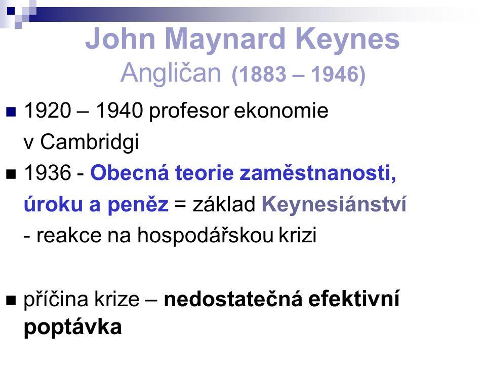 John Maynard Keynes Angličan (1883 – 1946) 1920 – 1940 profesor ekonomie v Cambridgi 1936 - Obecná teorie zaměstnanosti, úroku a peněz = základ Keynesiánství - reakce na hospodářskou krizi příčina krize – nedostatečná efektivní poptávka