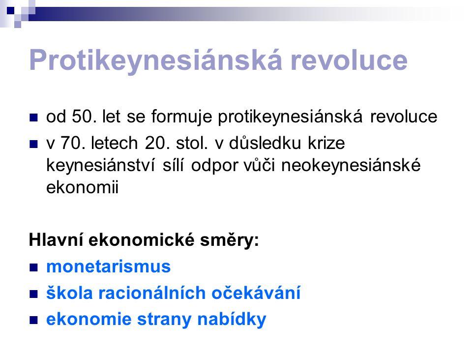 Protikeynesiánská revoluce od 50. let se formuje protikeynesiánská revoluce v 70. letech 20. stol. v důsledku krize keynesiánství sílí odpor vůči neok