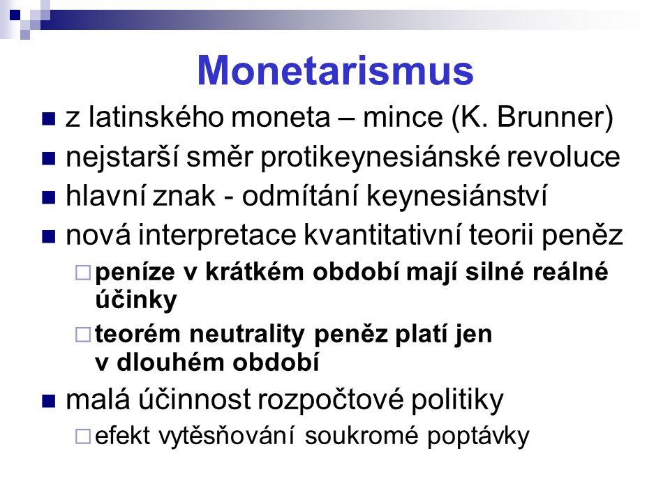 Monetarismus z latinského moneta – mince (K. Brunner) nejstarší směr protikeynesiánské revoluce hlavní znak - odmítání keynesiánství nová interpretace