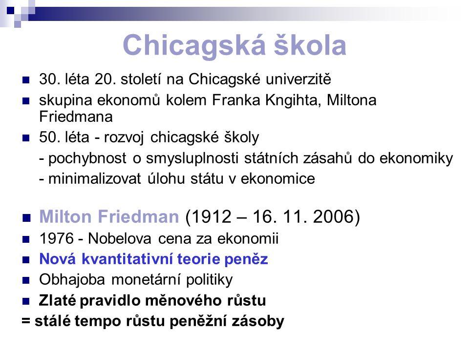 Chicagská škola 30. léta 20. století na Chicagské univerzitě skupina ekonomů kolem Franka Kngihta, Miltona Friedmana 50. léta - rozvoj chicagské školy