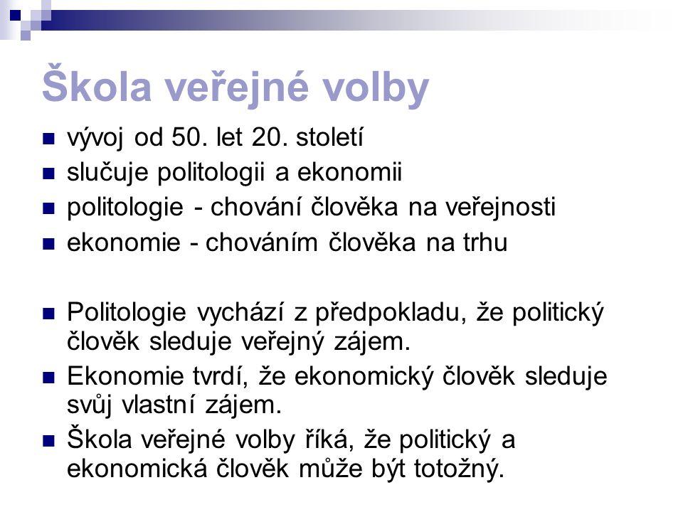 Škola veřejné volby vývoj od 50. let 20. století slučuje politologii a ekonomii politologie - chování člověka na veřejnosti ekonomie - chováním člověk