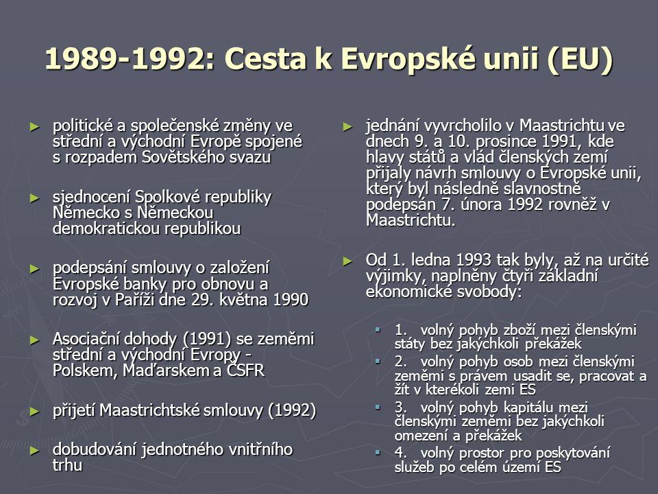 1989-1992: Cesta k Evropské unii (EU) ► politické a společenské změny ve střední a východní Evropě spojené s rozpadem Sovětského svazu ► sjednocení Spolkové republiky Německo s Německou demokratickou republikou ► podepsání smlouvy o založení Evropské banky pro obnovu a rozvoj v Paříži dne 29.