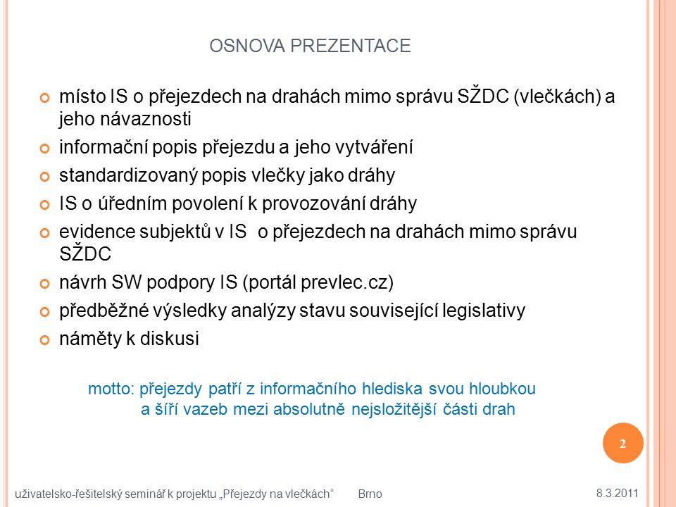OSNOVA PREZENTACE místo IS o přejezdech na drahách mimo správu SŽDC (vlečkách) a jeho návaznosti informační popis přejezdu a jeho vytváření standardiz