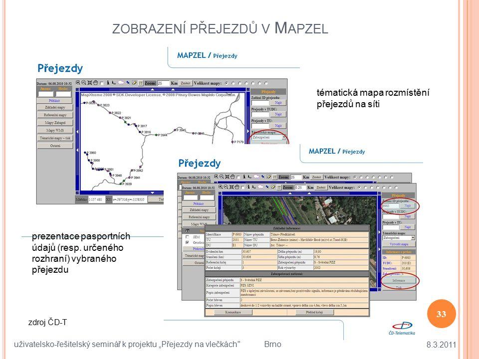 """ZOBRAZENÍ PŘEJEZDŮ V M APZEL 8.3.2011 33 uživatelsko-řešitelský seminář k projektu """"Přejezdy na vlečkách"""