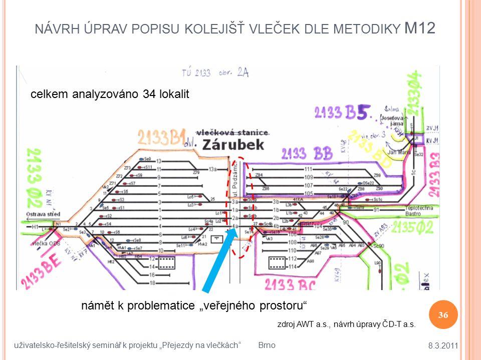 """NÁVRH ÚPRAV POPISU KOLEJIŠŤ VLEČEK DLE METODIKY M12 8.3.2011 36 uživatelsko-řešitelský seminář k projektu """"Přejezdy na vlečkách"""" Brno zdroj AWT a.s.,"""