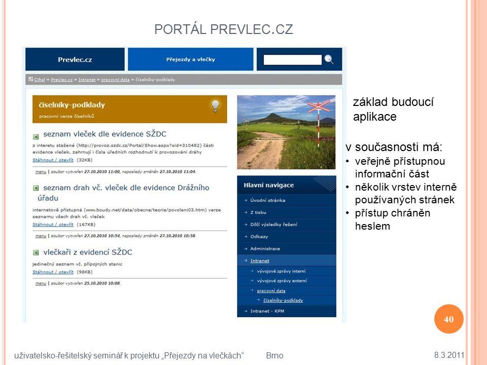 """PORTÁL PREVLEC. CZ 8.3.2011 40 uživatelsko-řešitelský seminář k projektu """"Přejezdy na vlečkách"""" Brno základ budoucí aplikace v současnosti má: veřejně"""