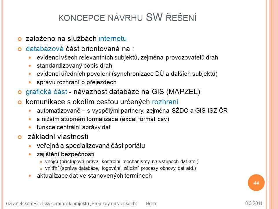 KONCEPCE NÁVRHU SW ŘEŠENÍ založeno na službách internetu databázová část orientovaná na : evidenci všech relevantních subjektů, zejména provozovatelů