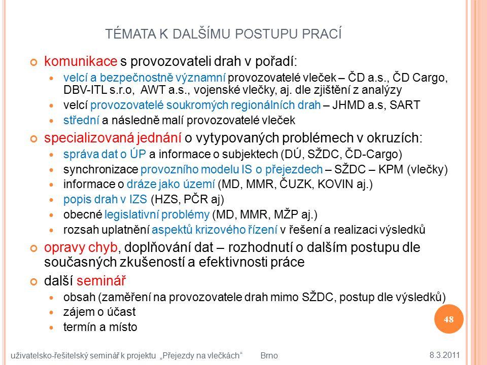 TÉMATA K DALŠÍMU POSTUPU PRACÍ komunikace s provozovateli drah v pořadí: velcí a bezpečnostně významní provozovatelé vleček – ČD a.s., ČD Cargo, DBV-I