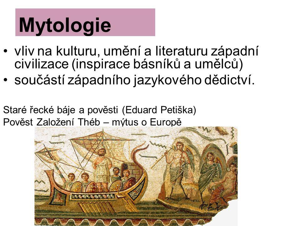 vliv na kulturu, umění a literaturu západní civilizace (inspirace básníků a umělců) součástí západního jazykového dědictví.